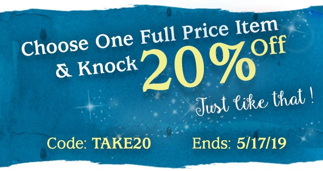 Choose One Full Price Item & Knock 20% off. Just Like That Code: TAKE20 Ends: 5/17/19  Weekly Best Sellers >